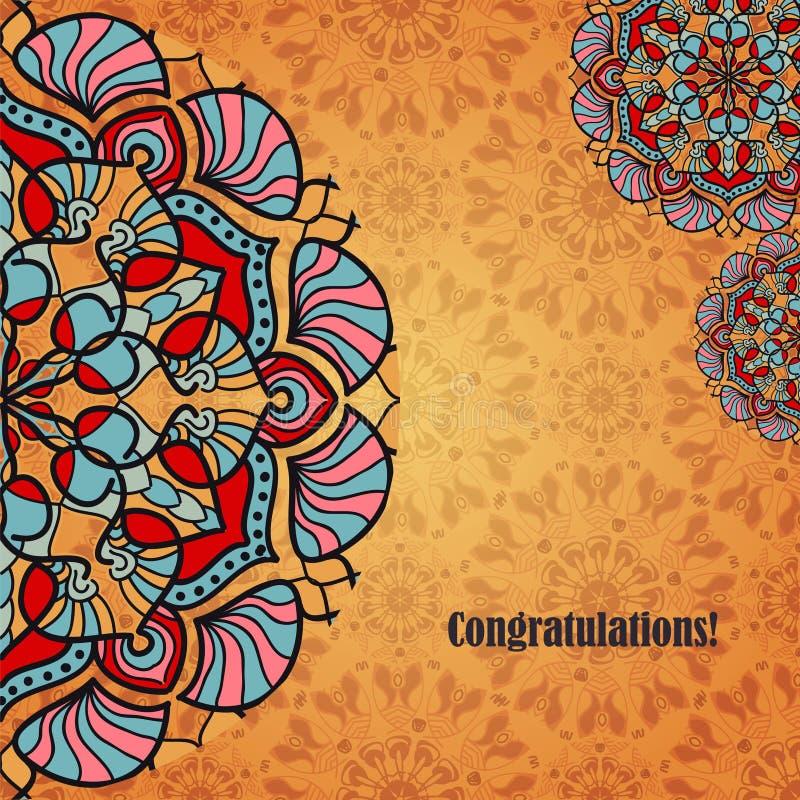 Vector o cartão com os ornamento populares indianos ou árabes O fundo das felicitações com testes padrões do texto e das mandalas ilustração stock