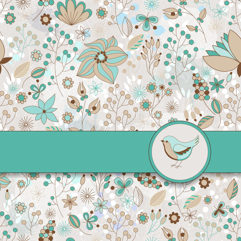 Vector o cartão com teste padrão floral, fita e pássaro foto de stock