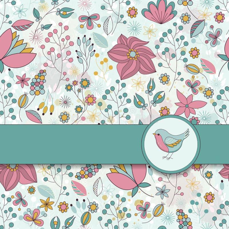 Vector o cartão com teste padrão floral, fita e pássaro imagem de stock