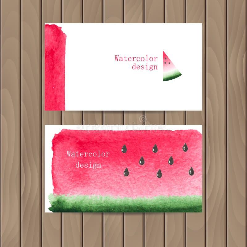 Vector o cartão com a textura da aquarela da melancia ilustração stock