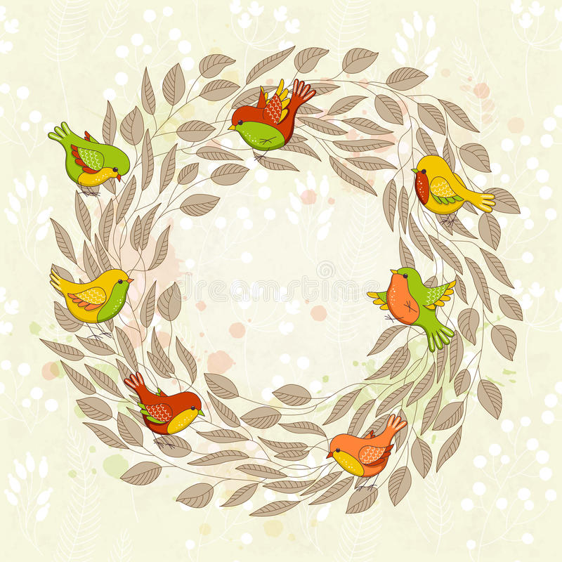 Vector o cartão da mola com grinalda floral e pássaros ilustração stock