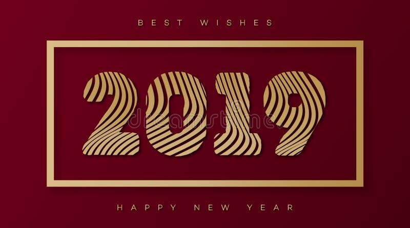 Vector o cartão de Natal com estilo 2019 do ouro do sinal no fundo vermelho do feriado ilustração royalty free