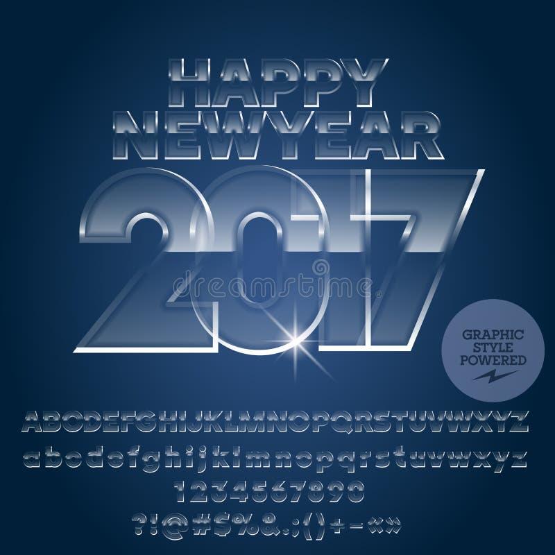 Vector o cartão 2017 de vidro do ano novo feliz do gelo ilustração do vetor