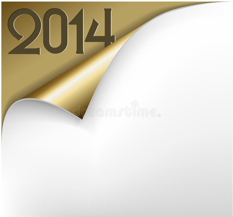 Vector o cartão do ano novo do Natal - folha do papel dourado 2014 ilustração royalty free