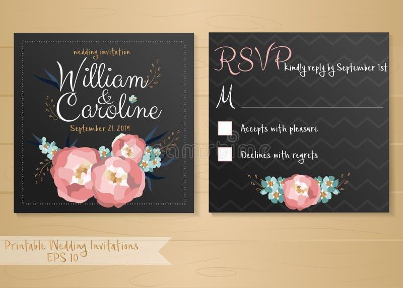 Vector o cartão do convite do casamento com elementos das flores e letras caligráficas ilustração stock