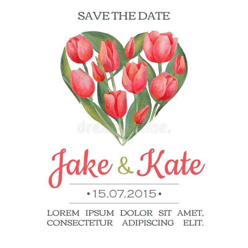 Vector o cartão do convite do casamento da aquarela com flores da tulipa e ilustração royalty free