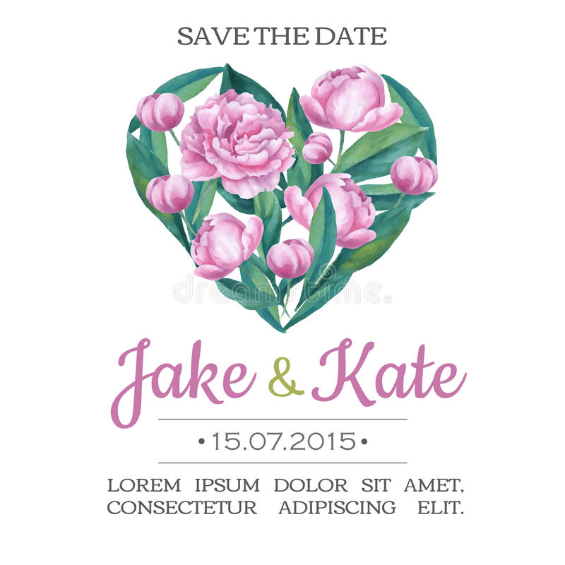 Vector o cartão do convite do casamento da aquarela com flores piony e ilustração stock