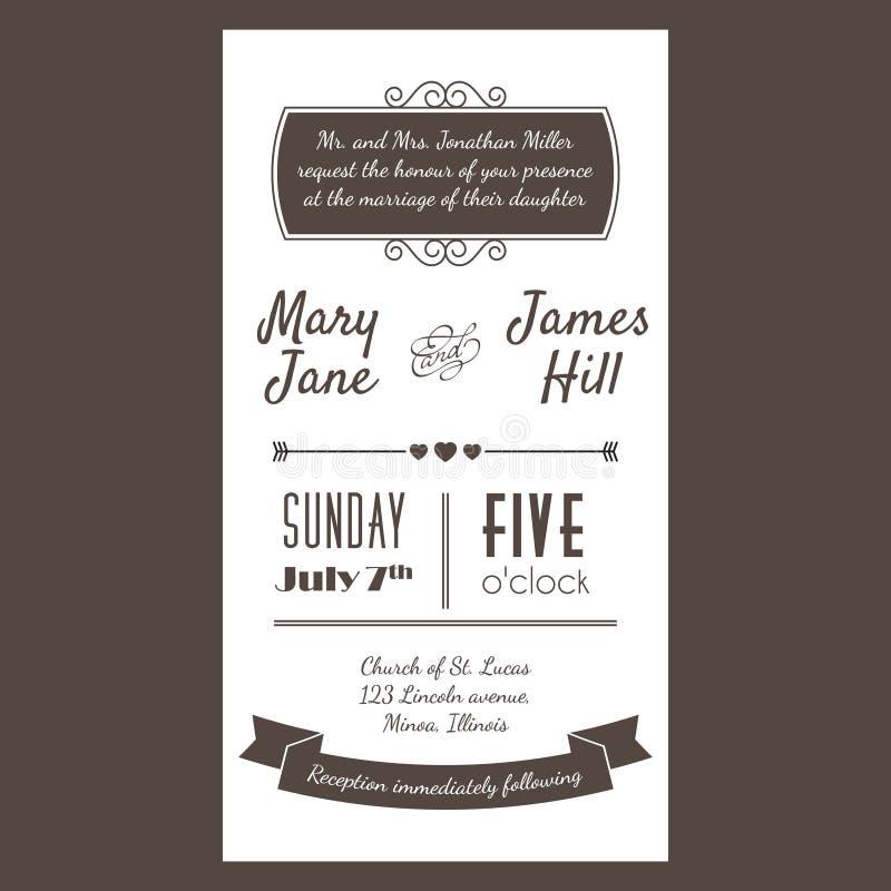 Vector o cartão do convite do vintage com ziguezague do fundo, letras, ilustração do vetor