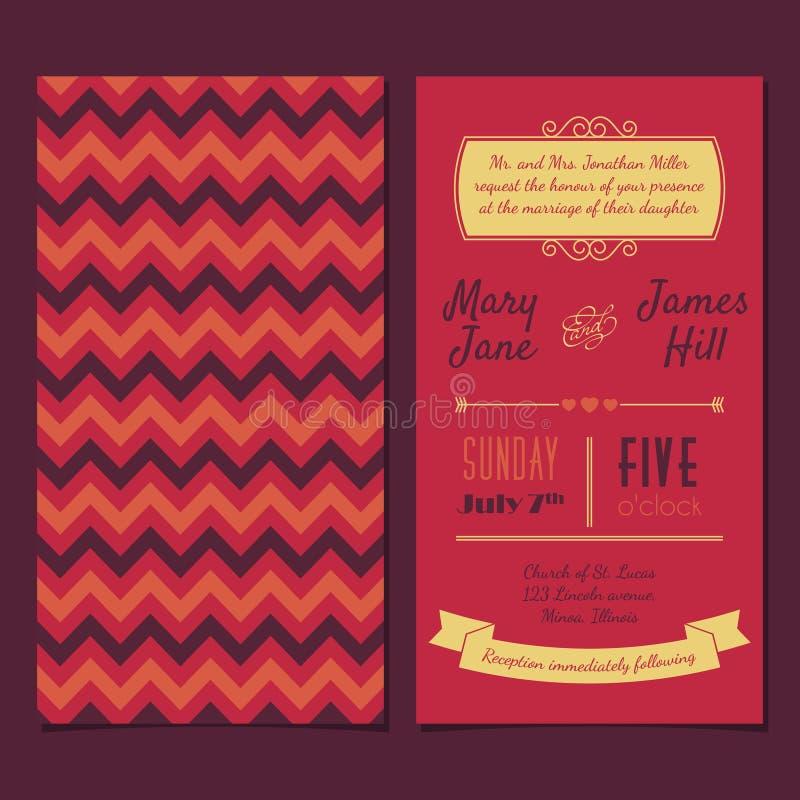 Vector o cartão do convite do vintage com ziguezague do fundo, letras, ilustração stock