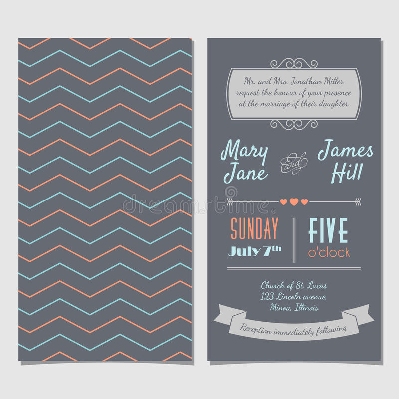 Vector o cartão do convite do vintage com ziguezague do fundo, letras, ilustração royalty free