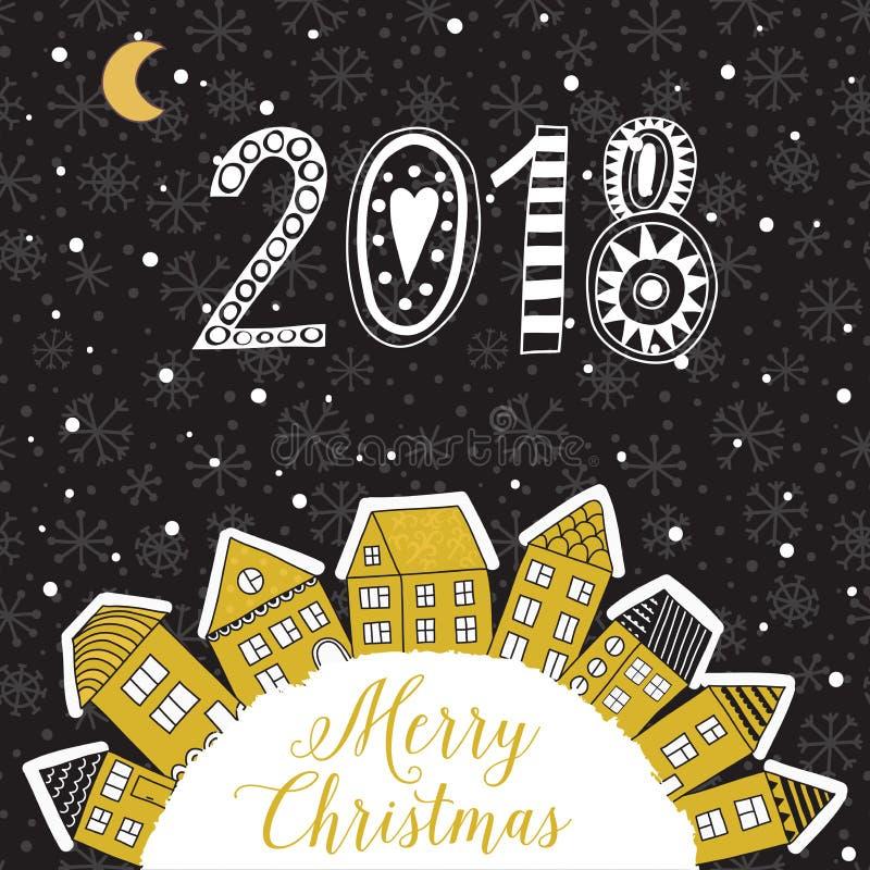 Vector o cartão do Natal com as casas colocadas em torno da metade do planeta, grupo de casas bonitos do vetor, tema do inverno ilustração royalty free