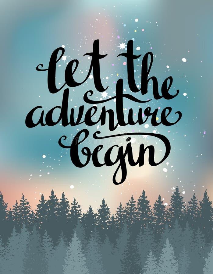 Vector o cartão do vintage com floresta, céu noturno e a frase inspirada deixou a aventura começar ilustração stock