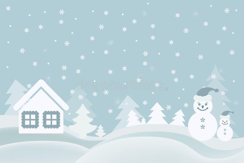 Vector o cartão dos desenhos animados da imagem com uma casa do boneco de neve e um Ch ilustração do vetor