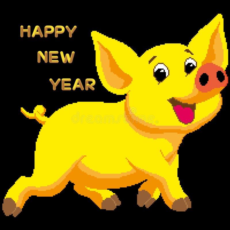 Vector o cartão, felicitações no ano novo 2019 com um porco de terra amarelo O texto é escrito em uma fonte decorativa no f ilustração royalty free