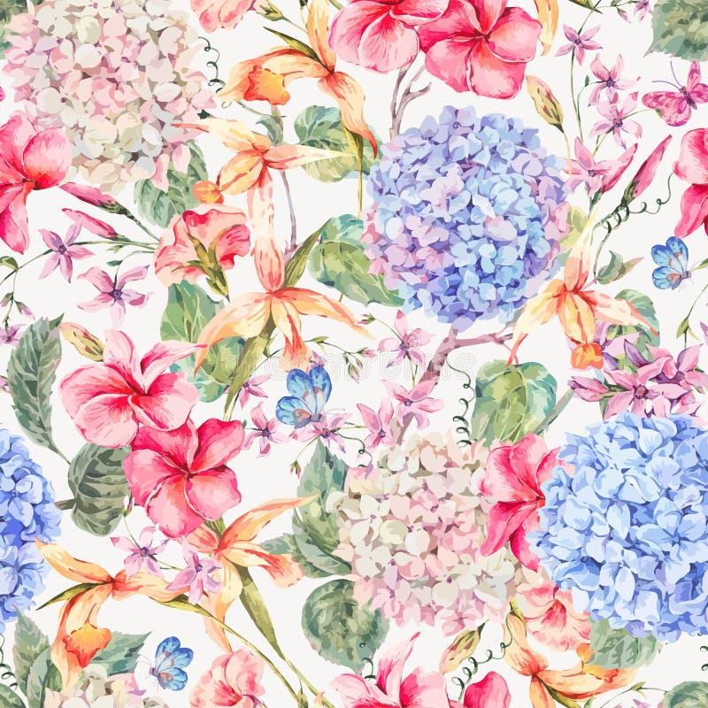 Vector o cartão floral do vintage com hortênsias, orquídeas ilustração stock
