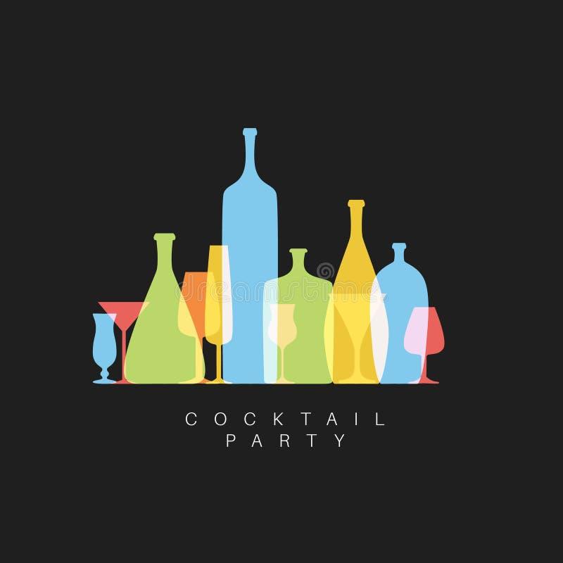 Vector o cartão fresco do convite do cocktail com vidros e garrafas ilustração stock