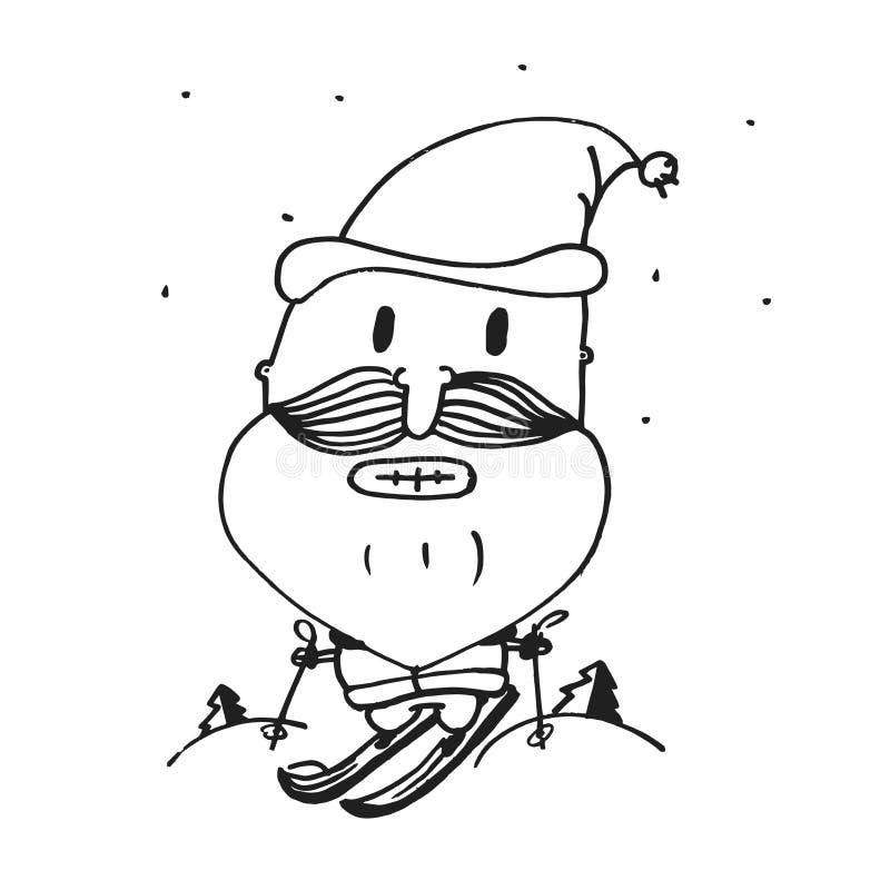 Vector o cartão pelo ano novo, Papai Noel, ano feliz, cópia, animação, engraçada, esboço da mão ilustração do vetor