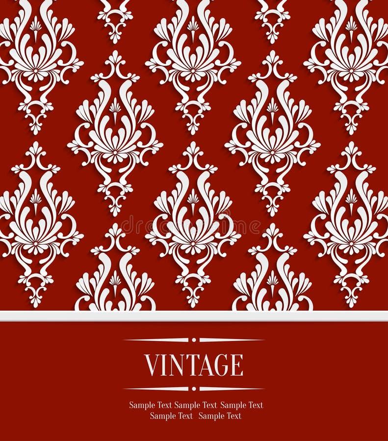 Vector o cartão vermelho do convite do vintage com teste padrão floral do damasco 3d ilustração stock