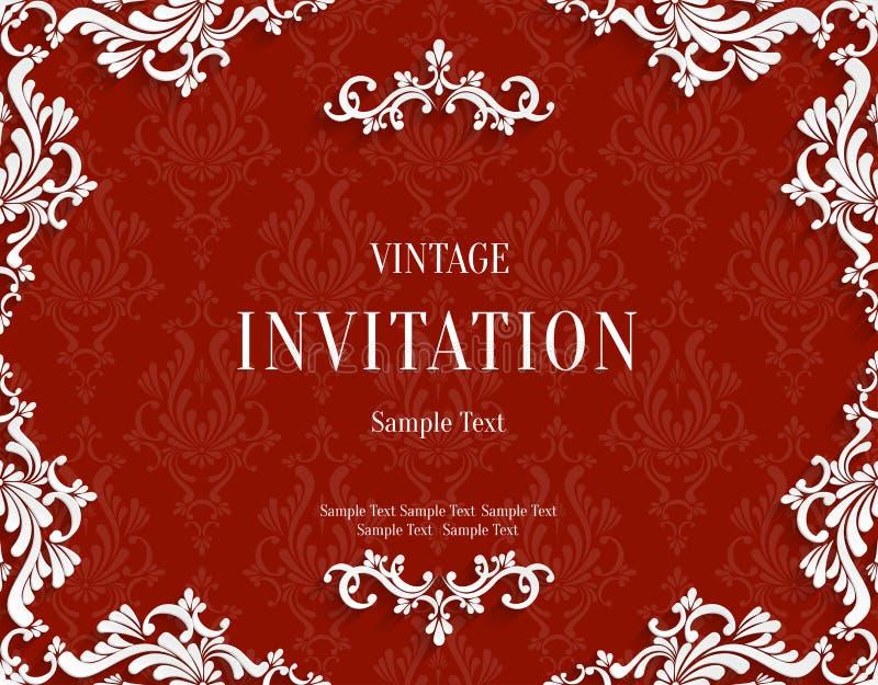 Vector o cartão vermelho do convite do vintage 3d com teste padrão floral do damasco ilustração stock