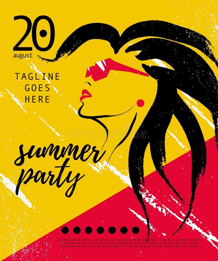 Vector o cartaz artístico do partido do verão, bandeira, cartaz, convite, flayer ilustração royalty free