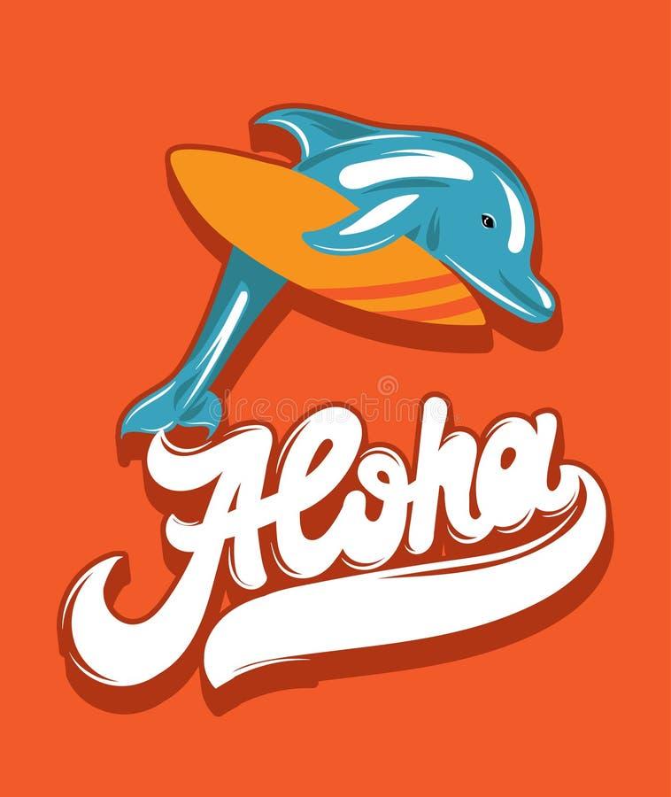 Vector o cartaz colorido com ilustração tirada mão do golfinho com prancha e rotulação escrita à mão ilustração do vetor