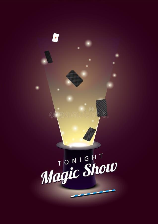 Vector o cartaz com o chapéu do mágico com cartões do voo e a varinha mágica ilustração royalty free