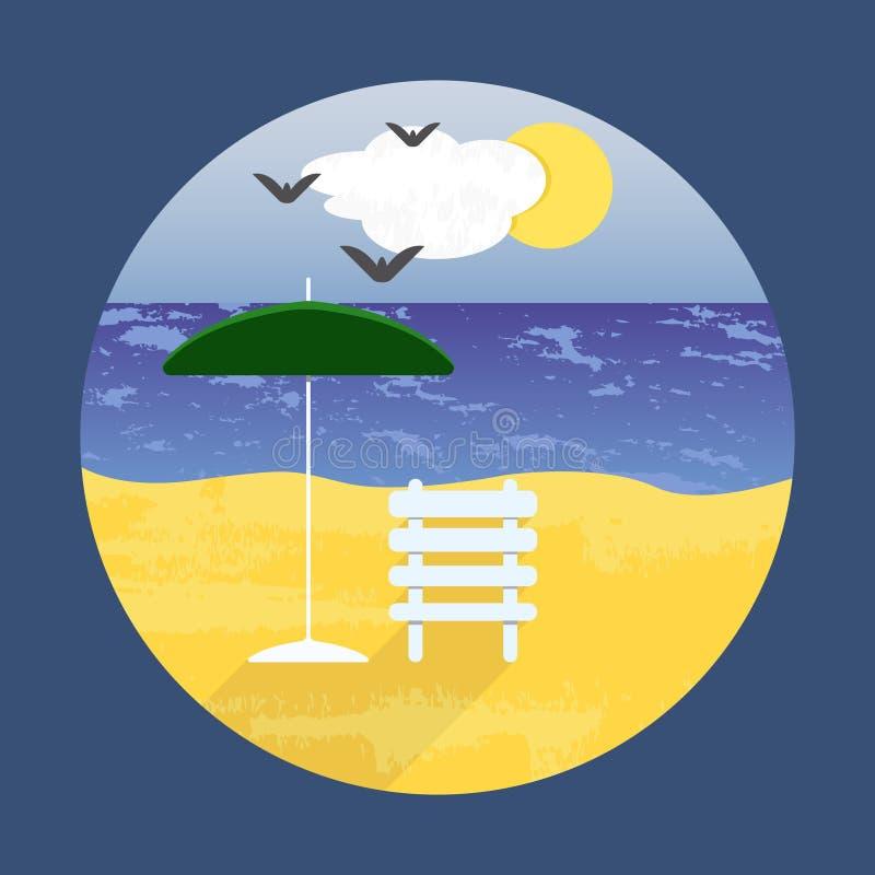 Vector o cartaz com uma paisagem da praia para o projeto minimalism ilustração stock