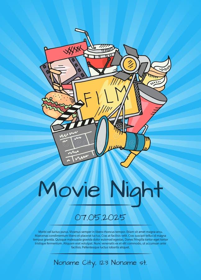Vector o cartaz dos ícones do cinema para a noite de cinema ou o festival ilustração do vetor