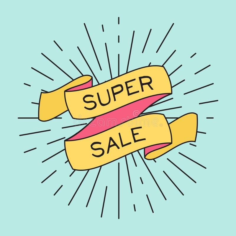 Vector o cartaz super da venda com raios claros da fita e do vintage ilustração royalty free