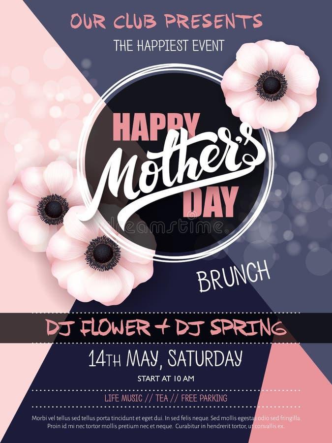Vector o cartaz tirado mão do evento do dia de mães com texto de florescência da rotulação da mão das flores da anêmona - dia de  ilustração do vetor