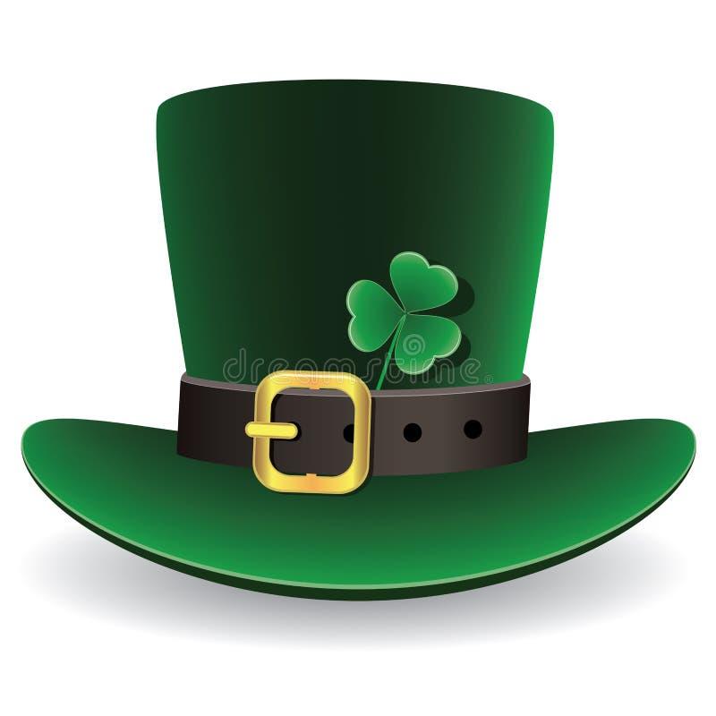 vector o chapéu do dia do St. Patrick verde com trevo ilustração do vetor