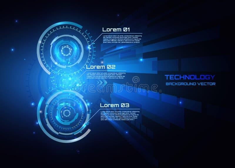 Vector o conceito abstrato de uma comunicação da tecnologia do fundo, fundo futurista, infographic, círculo do techno ilustração royalty free
