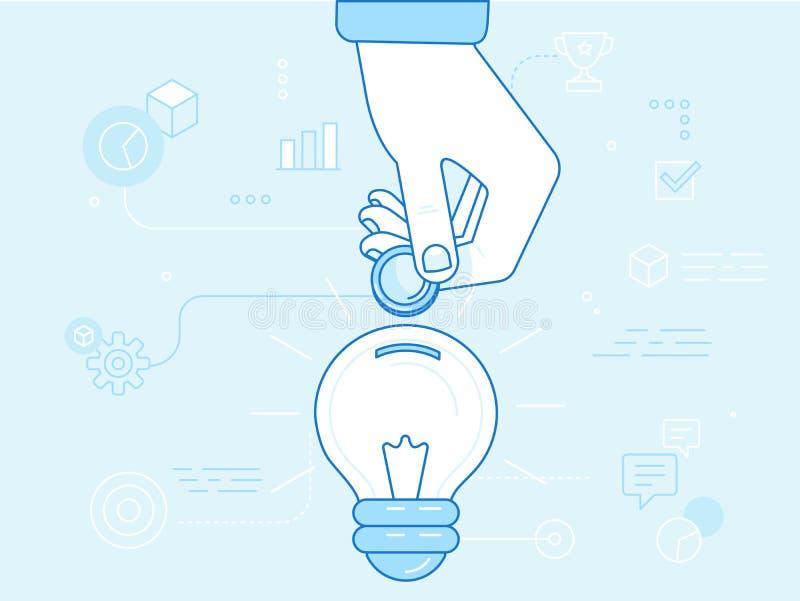 Vector o conceito crowdfunding no estilo liso - o modelo comercial novo - ilustração stock