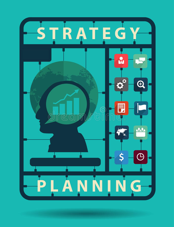 Vector o conceito da ideia do planeamento da estratégia com ícones lisos do negócio ilustração do vetor