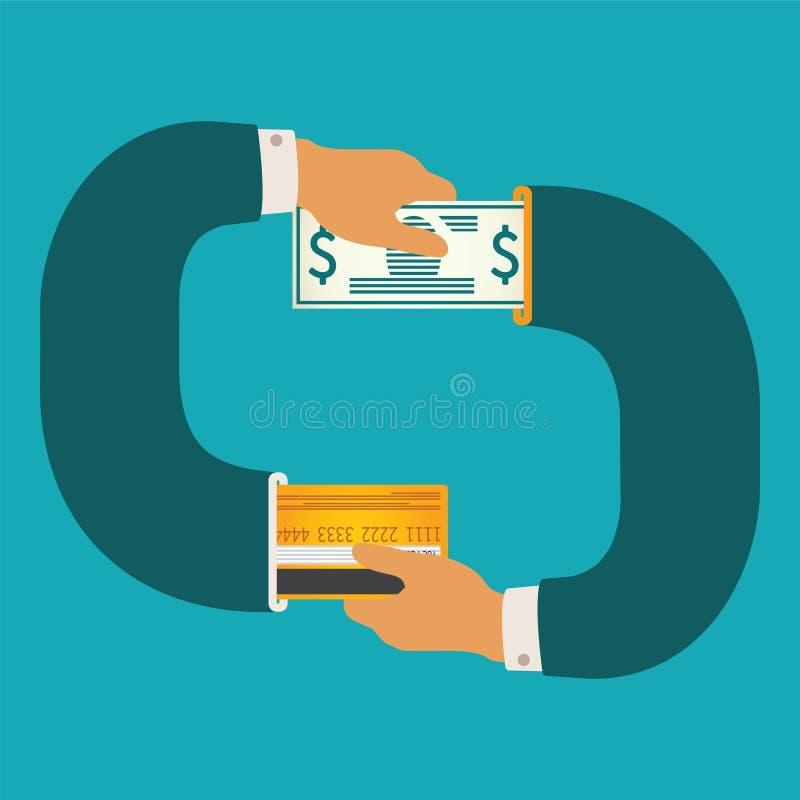 Vector o conceito da ilustração da circulação do dinheiro do dinheiro e do não-dinheiro ilustração stock