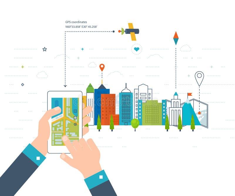 Vector o conceito da ilustração de guardar o Smart-telefone com navegação móvel ilustração royalty free