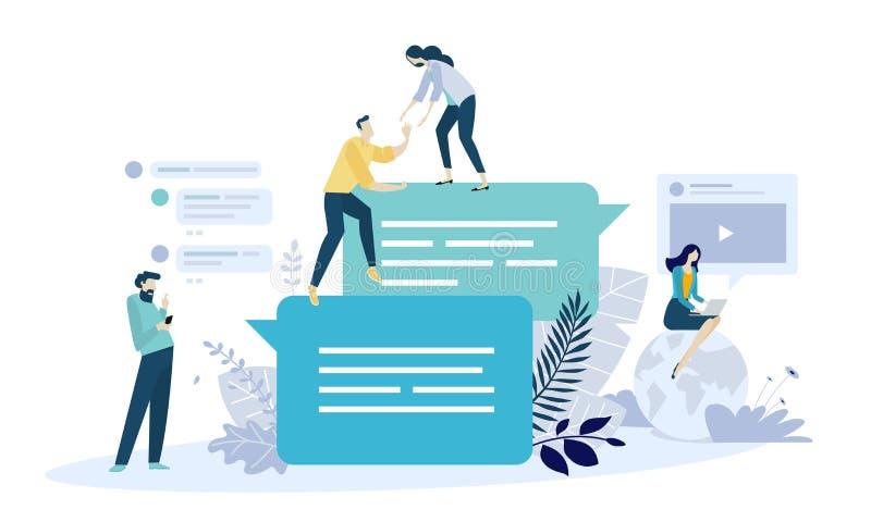 Vector o conceito da ilustração de uma comunicação em linha, meio social, trabalhos em rede, grupo comunitário ilustração royalty free