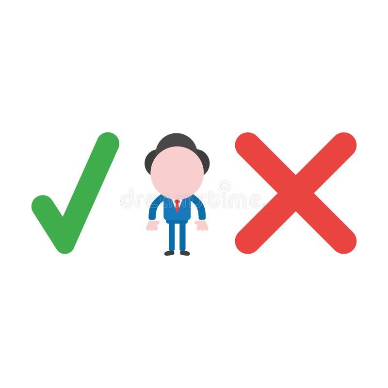 Vector o conceito da ilustração do homem de negócios que sem cara o caráter seja ilustração stock