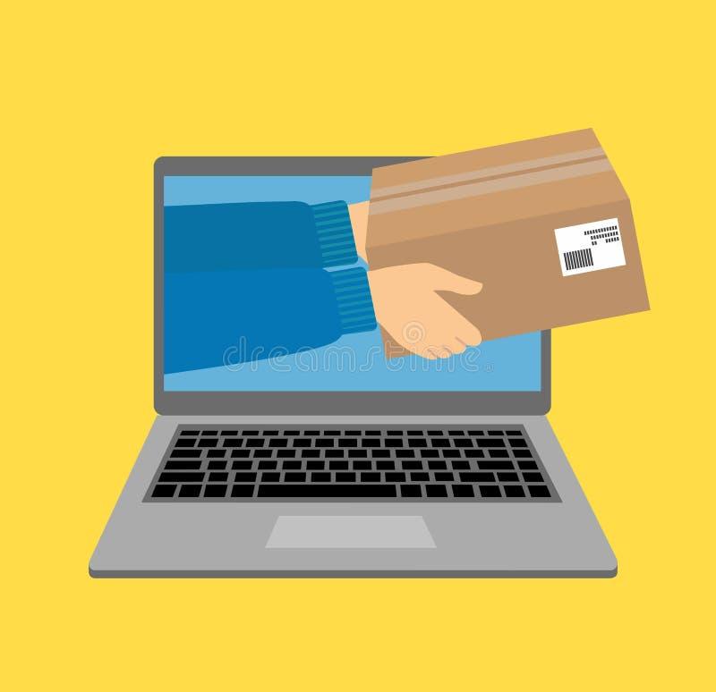 Vector o conceito da ilustração para o serviço de entrega do presente, comércio eletrônico, compra em linha, recebendo o pacote d ilustração stock