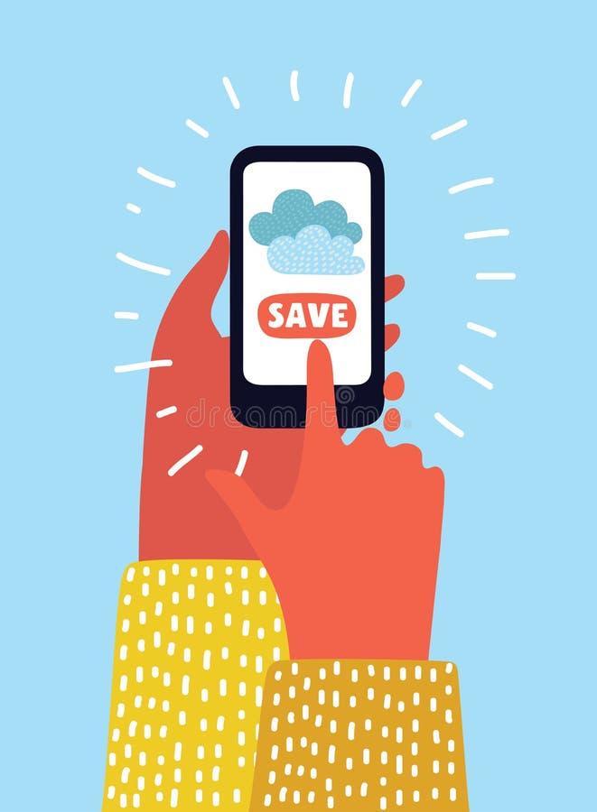 Vector o conceito de serviços da nuvem no dispositivo móvel de botões de economias do telefone celular ilustração stock