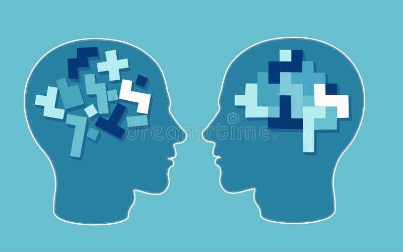 Vector o conceito de uma neurologia e de uma psicologia do cérebro da cabeça do enigma ilustração stock