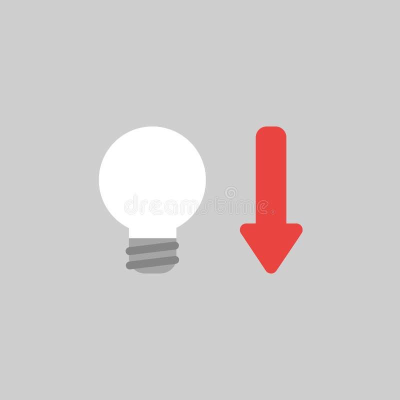 Vector o conceito do ícone da ampola com a seta que move-se para baixo no cinza ilustração do vetor
