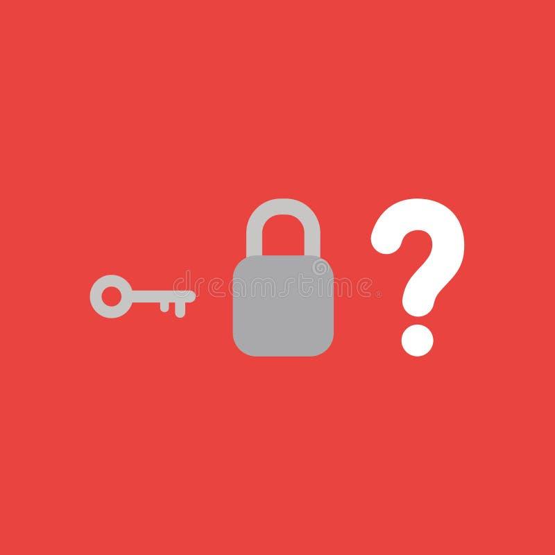Vector o conceito do ícone da chave, padlock sem buraco da fechadura e pergunta ilustração royalty free