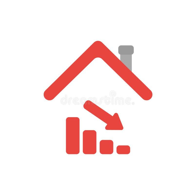 Vector o conceito do ícone do gráfico de barra das vendas que move-se para baixo sob a casa r ilustração royalty free