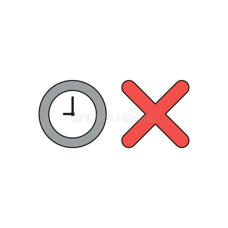 Vector o conceito do ?cone da horas com marca de x ilustração stock
