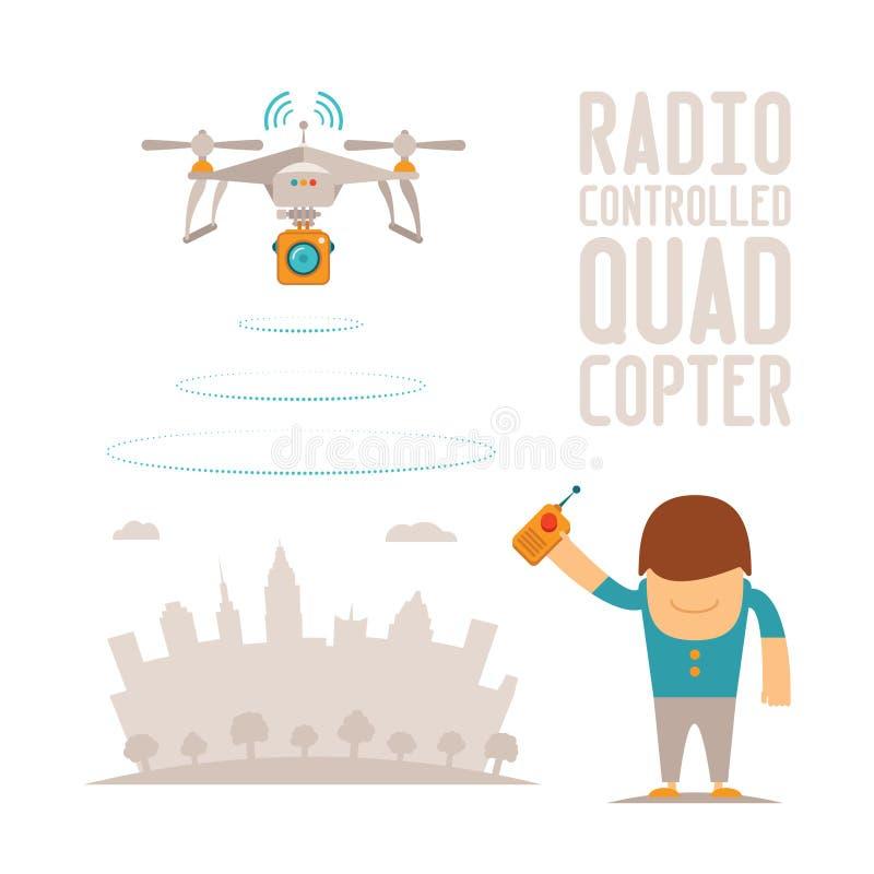 Vector o conceito do zangão do ar do quadcopter com controlo a distância ilustração stock