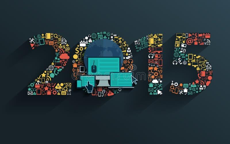 Vector o conceito liso com sinal do ano novo feliz 2015 ilustração stock
