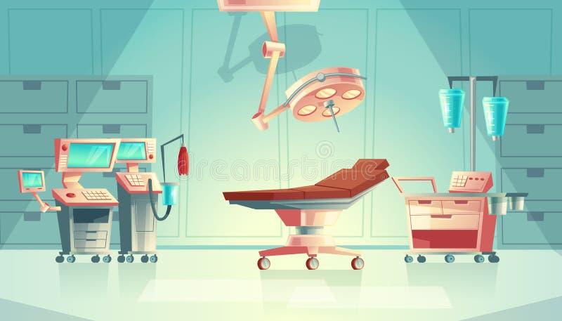 Vector o conceito médico da cirurgia, equipamento do hospital dos desenhos animados