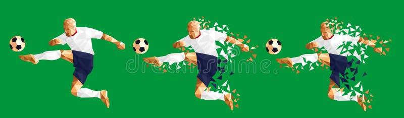 Vector o concep baixo-poli do estilo do jogador de futebol do futebol da ilustração ilustração stock