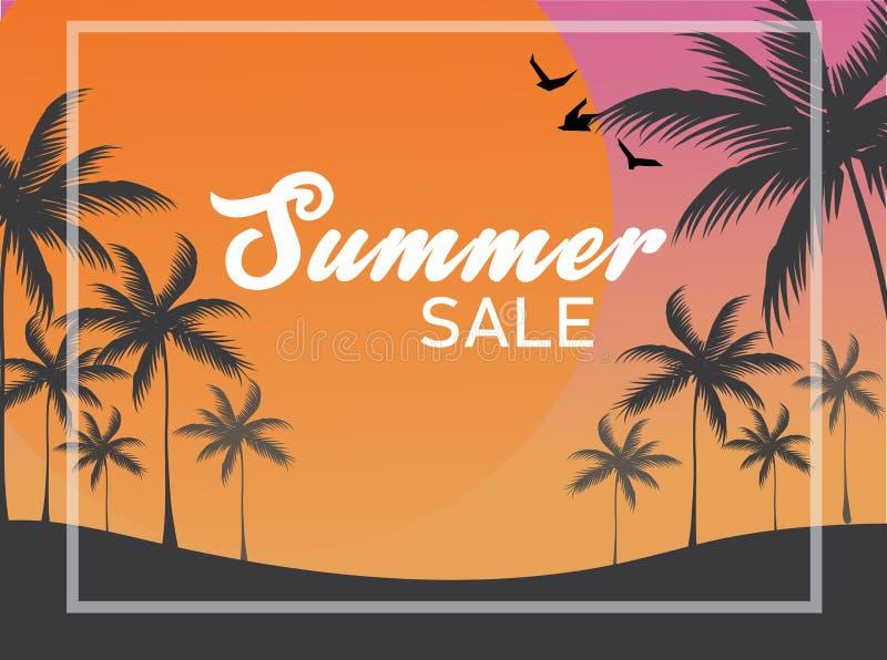 Vector o contexto da bandeira da venda do verão, os pássaros da silhueta e árvores de coco tropicais com o sol grande no céu crep ilustração royalty free
